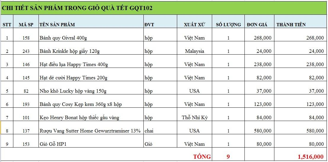 Giỏ quà tết GQT102