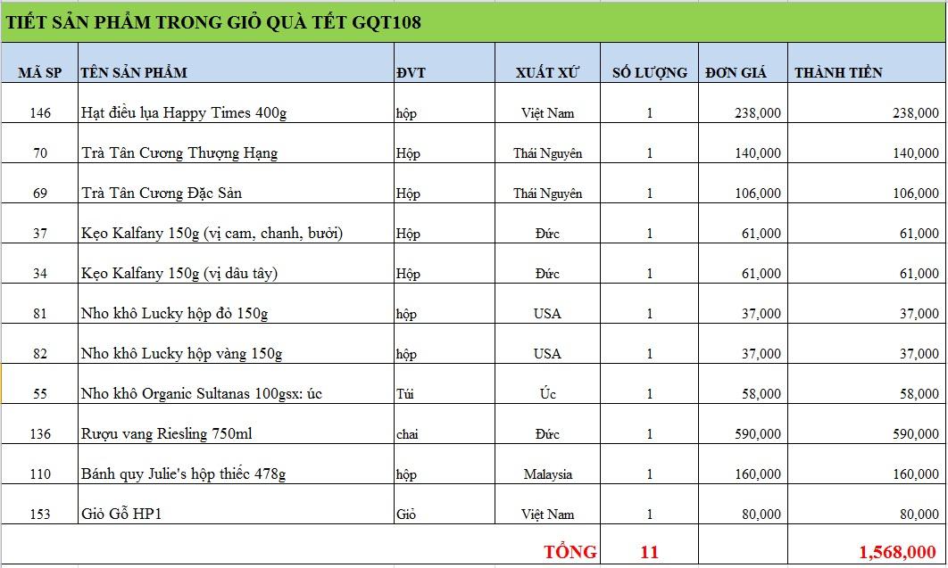 Giỏ quà tết GQT108