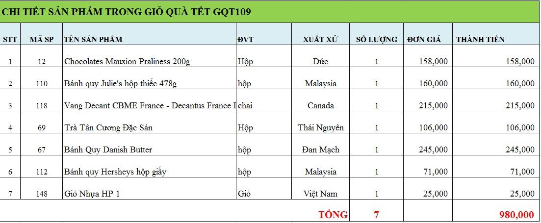 Giỏ quà tết GQT109
