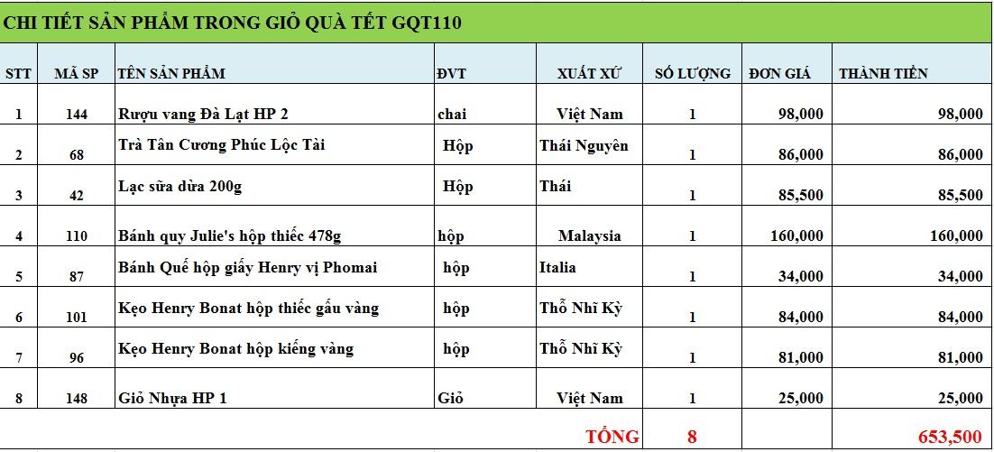 Giỏ quà tết GQT110
