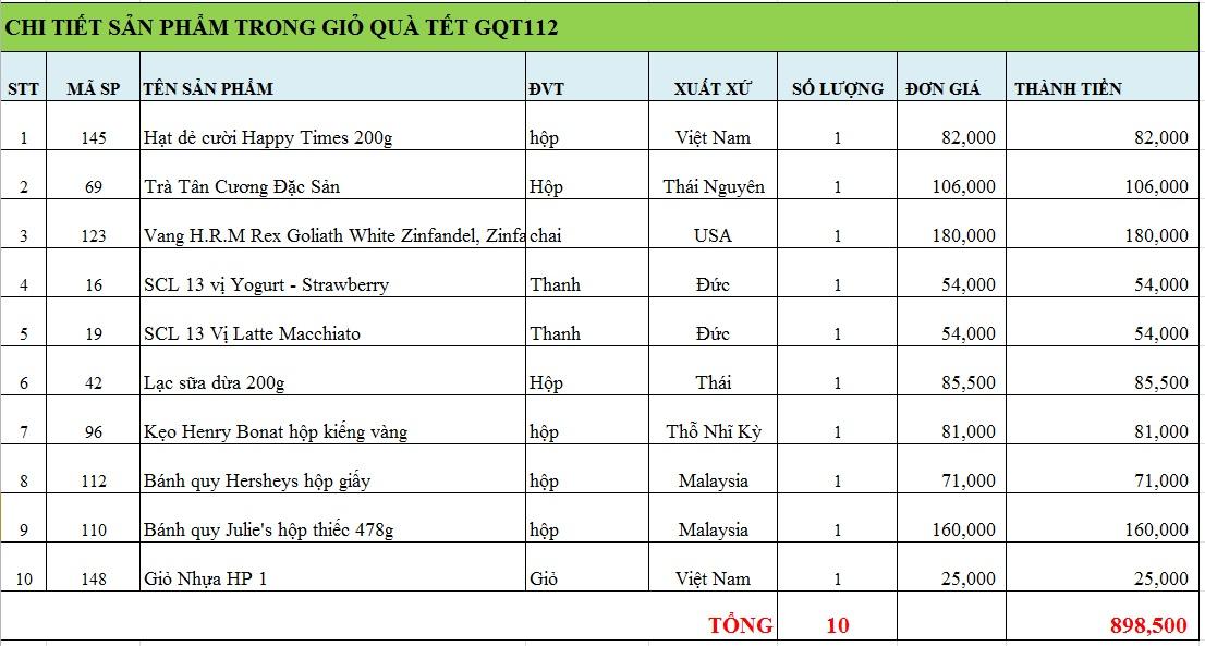 Giỏ quà tết GQT112