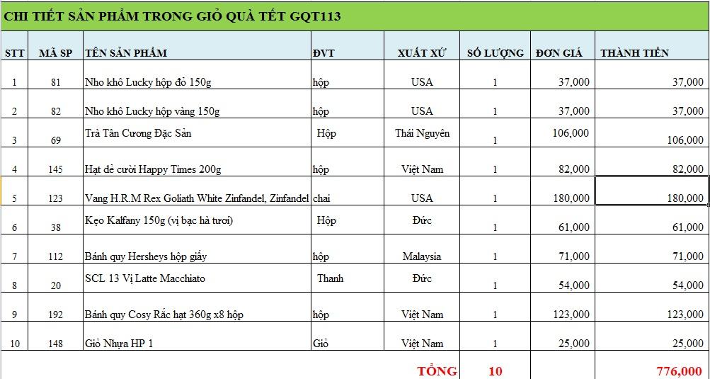 Giỏ quà tết GQT113