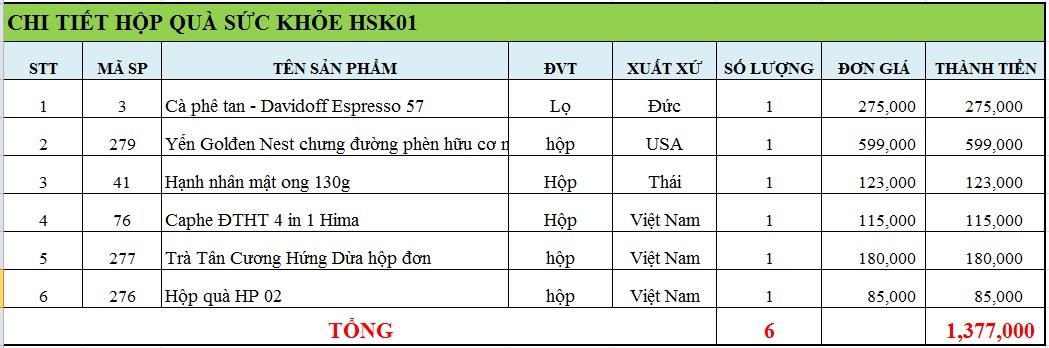 Hộp quà sức khỏe HSK01
