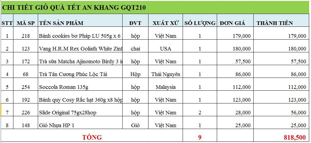 Giỏ quà tết an khang GQT210