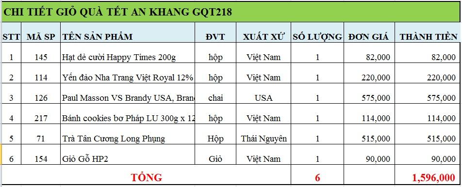 Giỏ quà tết an khang GQT218