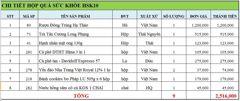 Hộp quà sức khỏe HSK10