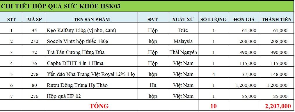 Hộp quà sức khỏe HSK03