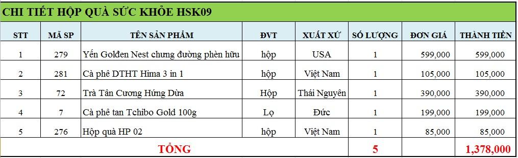 Hộp quà sức khỏe HSK09