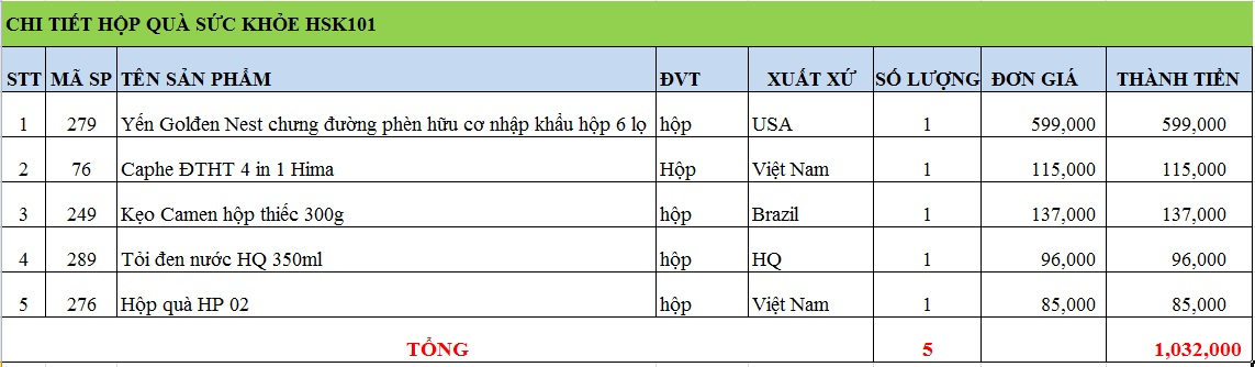 Hộp quà sức khỏe HSK101