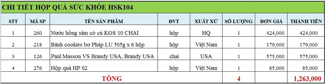 Hộp quà sức khỏe HSK104