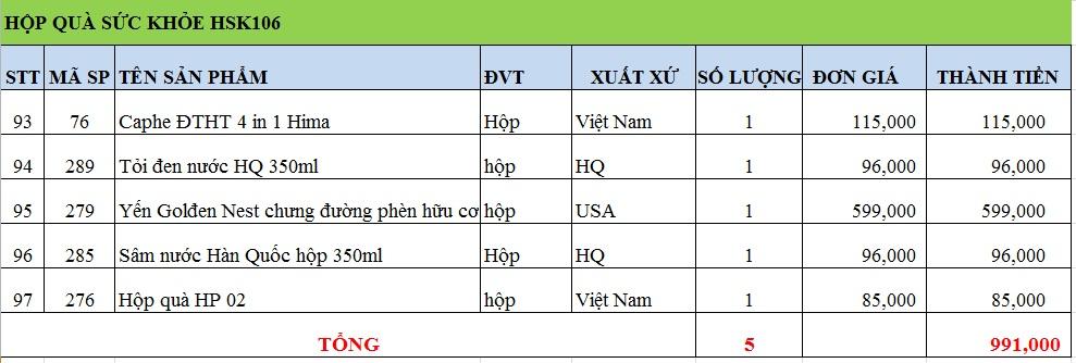 Hộp quà sức khỏe HSK106