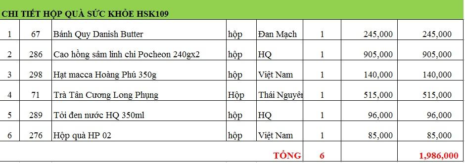 Hộp quà sức khỏe HSK109