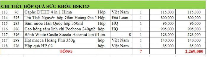 hộp quà sức khỏe hsk113