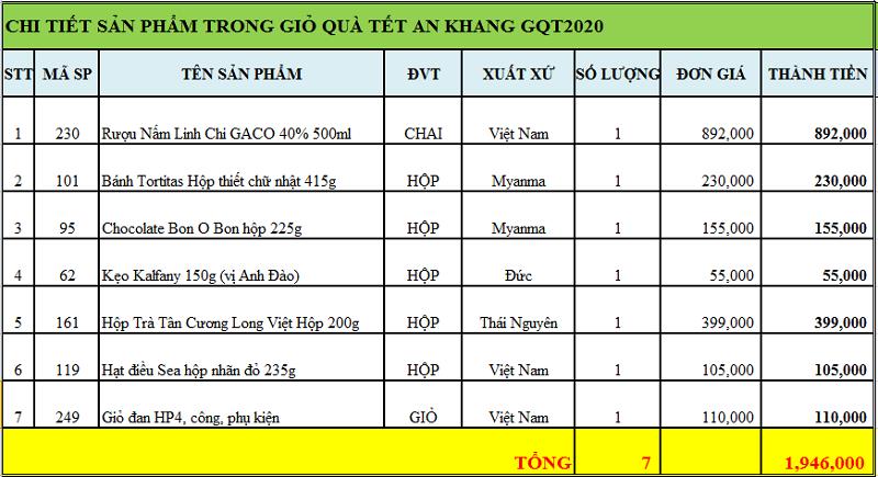 Giỏ quà tết an khang GQT2020